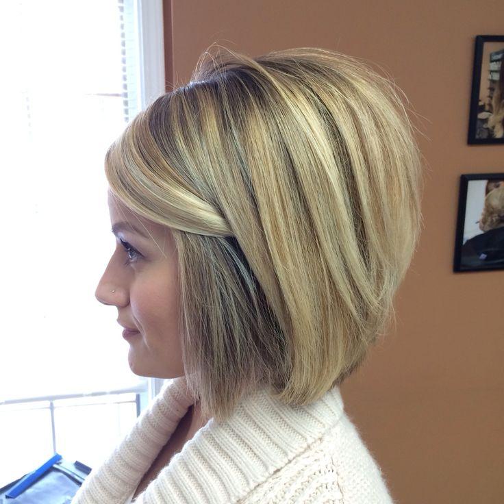 Pretty balayage highlights done at Salon Bella Vi in Plymouth Mi. Short hair. Short aline bob :)