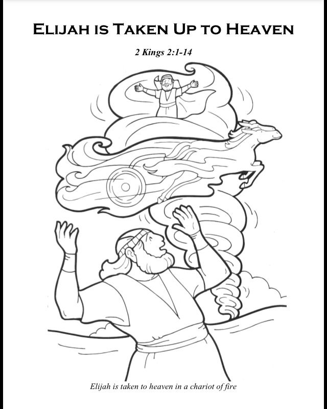elijah elisha and the chariot of fire - Elijah Bible Story Coloring Pages