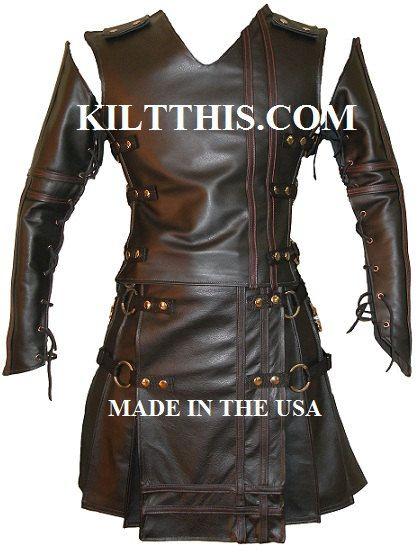 Badpiper Baddy Utility Kilt Black Leather Vest Kilt Sleeves Set Custom Fit Adjustable Interchange Parts Cargo Pockets Hidden Inside Pockets