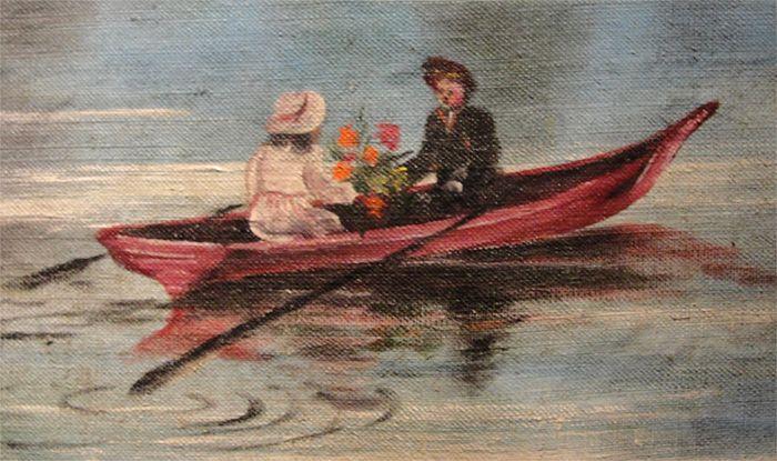 Расписной ковёр «Пейзаж с озером» Кузовков Г. П. Фрагмент