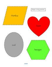 Shapes cutting practice 2 - color and b/w. Rhombus, heart, hexagon and oval.