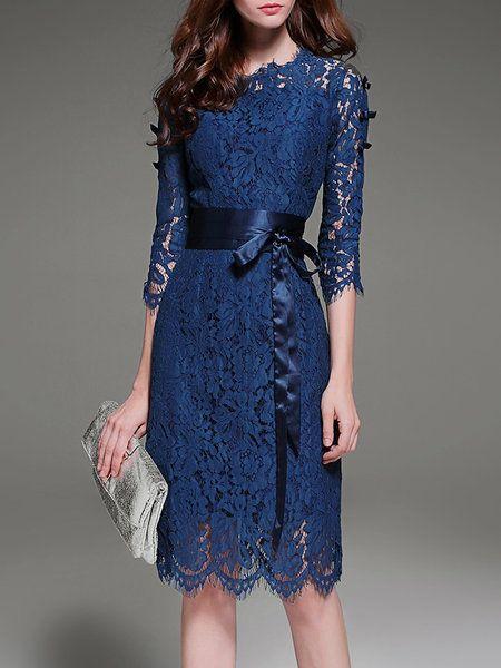 Shop Midi Dresses - Royal Blue Elegant A-line Lace Crew Neck Midi Dress online. Discover unique designers fashion at StyleWe.com.