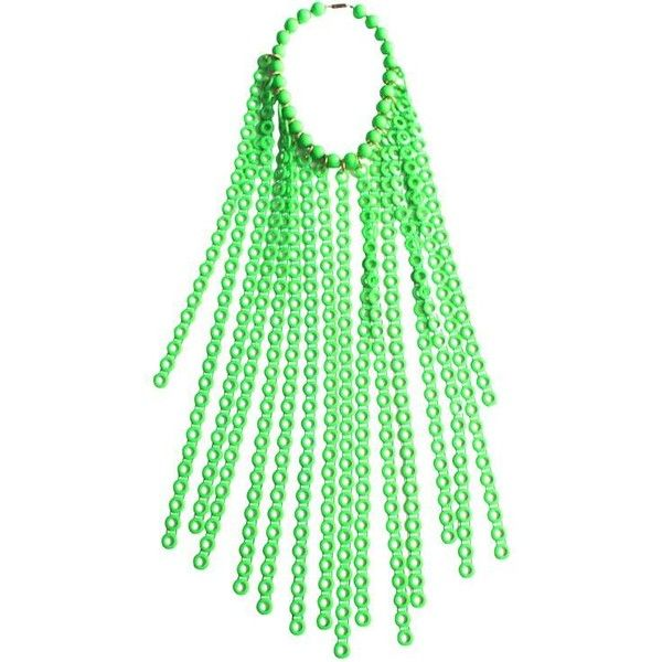 Preowned Lime Green 1960s Collar ($355) ❤ liked on Polyvore featuring jewelry, necklaces, beaded necklaces, green, green jewelry, bead strand necklace, beads jewellery and body jewelry