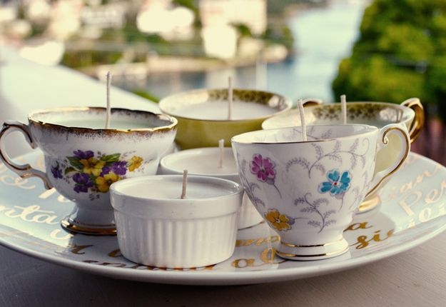 Turn old teacups into candle holders. | 30 Ways To Make Drinking Tea Even More Delightful