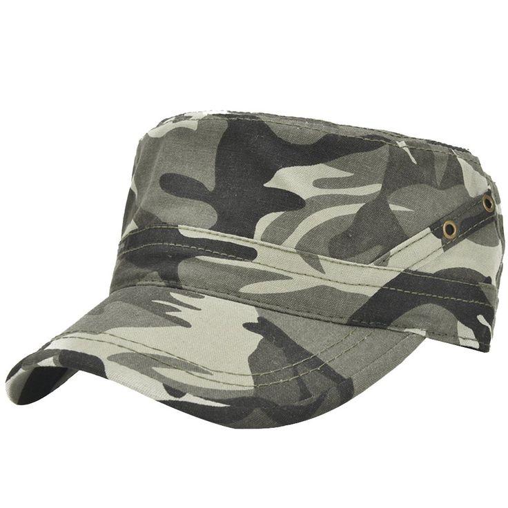 Men's Cotton Flat Top Peaked Baseball Twill Army Millitary Corps Hat Cap Visor (2017 Camo)
