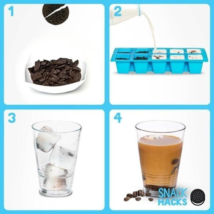 Pour milk (or milk substitute) and crushed Oreo cookies into an ice cube tray, then freeze. Add to your morning coffee for the best iced coffee ever.