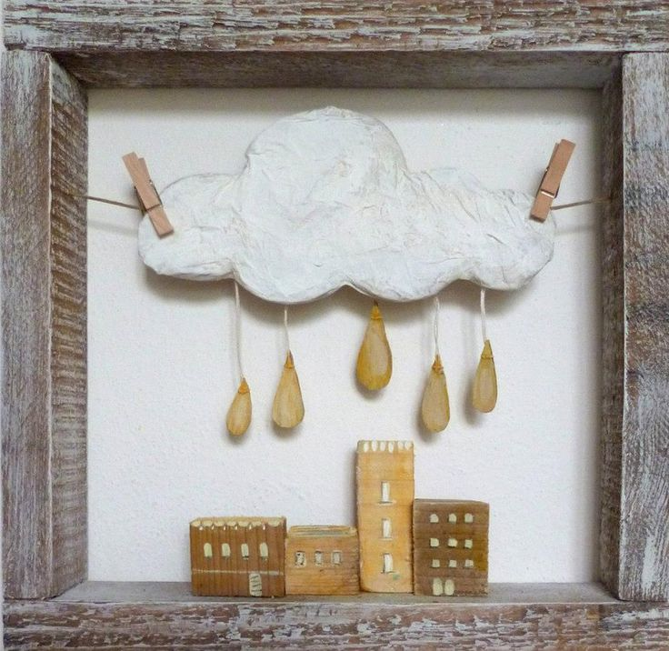 Handmade wooden and paper houses, clouds, and dreams | by italian artist Angela Fattori | http://angela-fattori.blogspot.it/