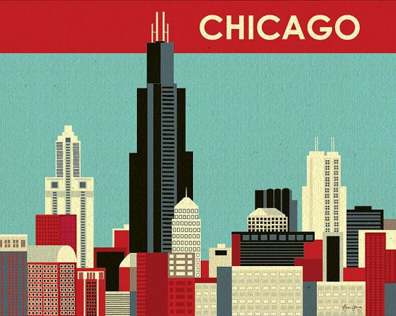 Chicago Illinois Skyline   Destination Wall Art by loosepetals, $26.00
