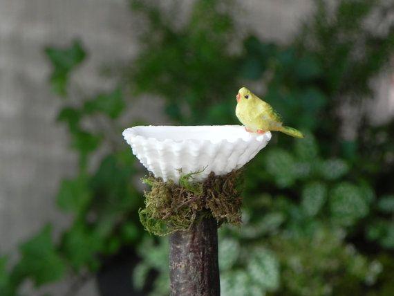 Miniature Fairy Garden Birdbath with bird by TheLittleHedgerow, $7.50