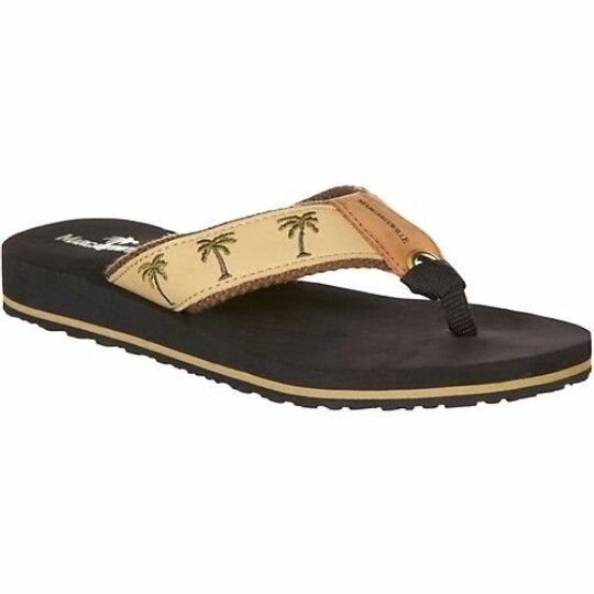 Women's thong sandals by Margaritaville feature casual, resort styling with  their palm tree print on fabric upper. WARNING: This product contains a  chemical ...