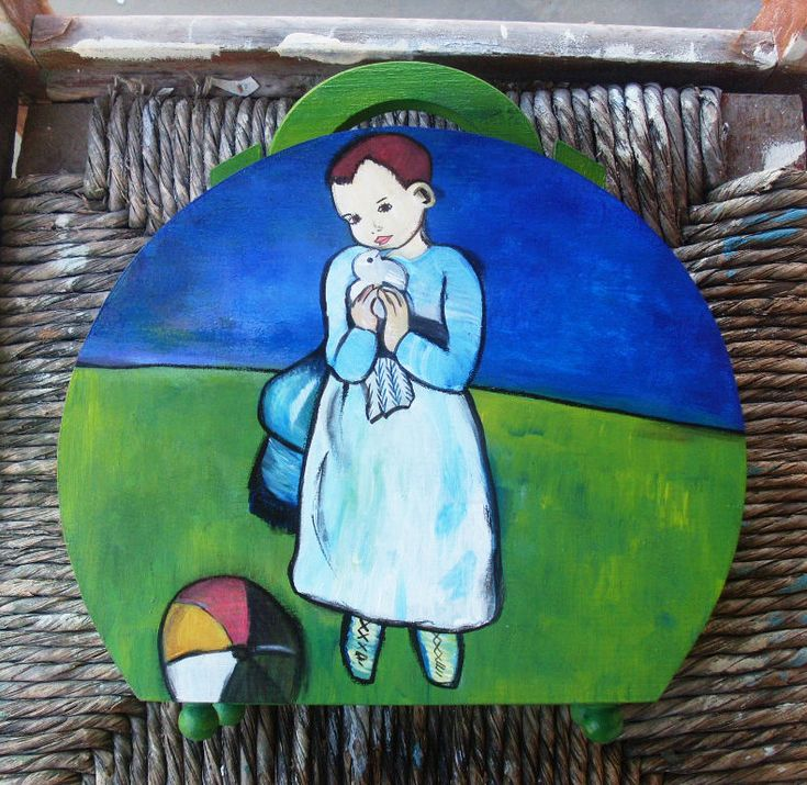 Wooden Box Purse - Handbag - Girl with a dove by allabouthandicraft on Etsy