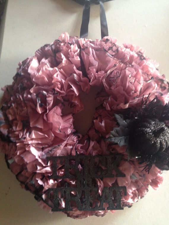 Hand dyed coffee filter wreath, Halloween Themed, 12 foam wreath wrapped in paper. The actual size of the finished wreath is 14. The hanger