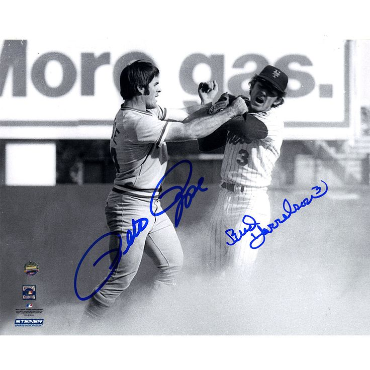 Pete Rose/Bud Harrelson Dual Signed B/W Fighting With Pete Rose 8x10 Photo