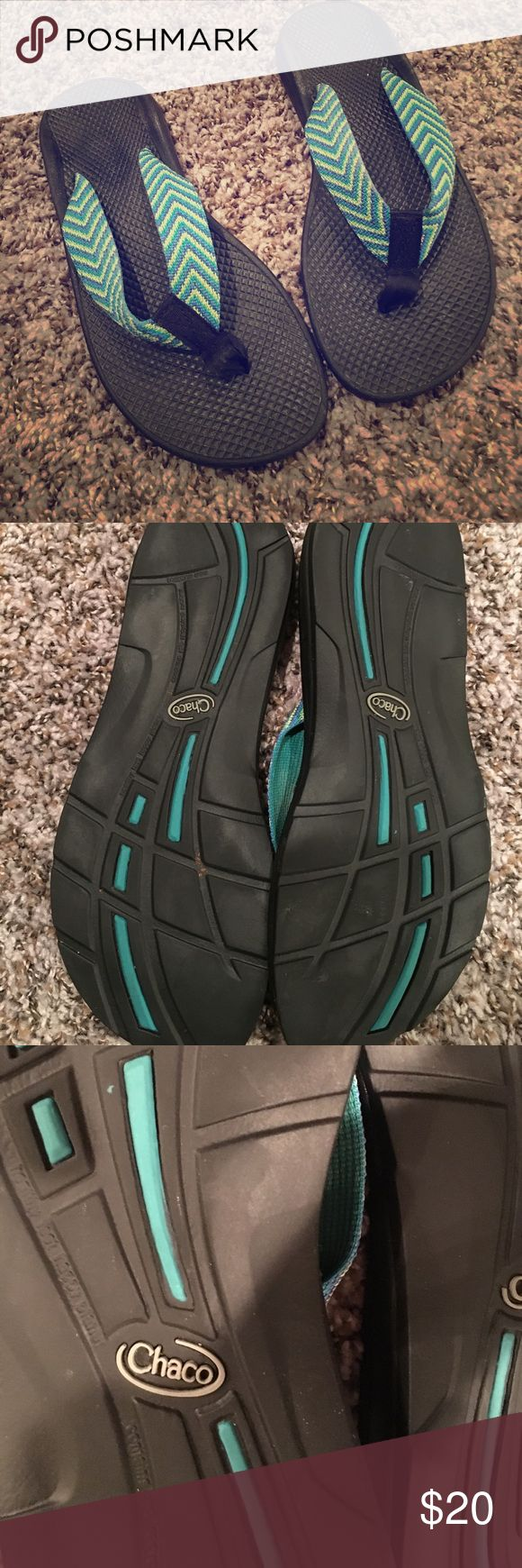Chaco Flip Flops Chaco Flip Flops - Super Comfortable! Arch support! Blue, green and yellow. Rare!! Chaco Shoes Sandals