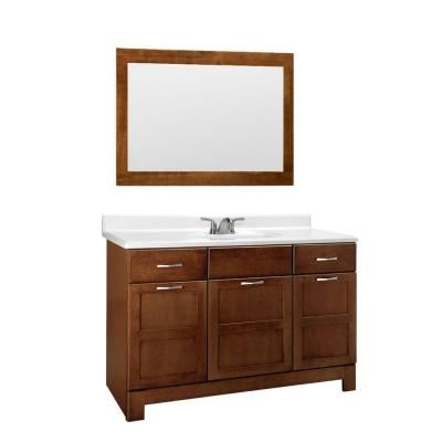 """$600 48"""" single sink; includes top, sink and mirror.  Brushed nickel hardware.     One rating is good.  Top is white.   Casual 48 in. W x 21 in. D Vanity Cabinet with Mirror in Cognac-CM48-COG - The Home Depot"""