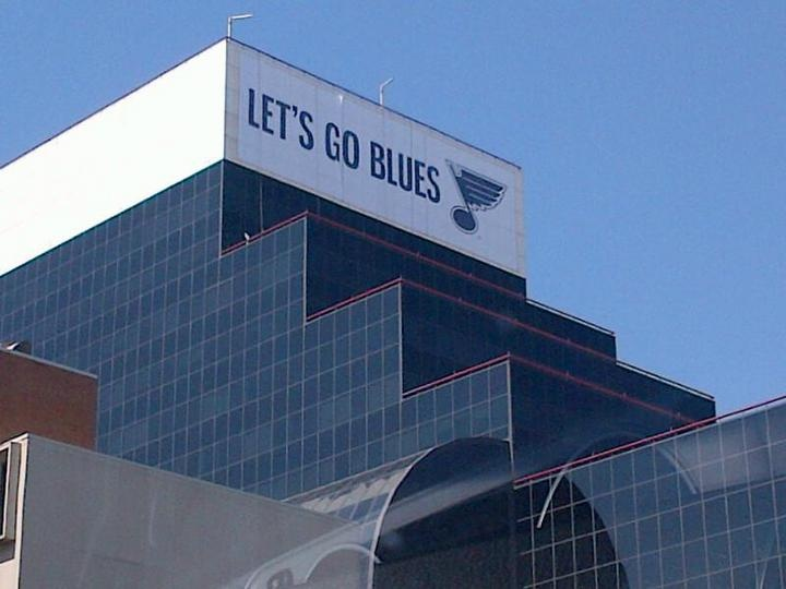 Giant Blues sign on the Wells Fargo building!