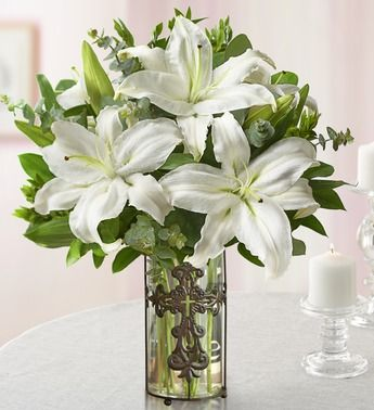 White Lilies with Cross Vase - with Tin Cross Vase $49.99 #coupay #gifts #flowers