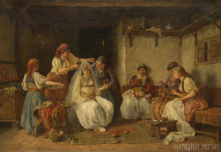 Kićenje neveste, 1885/1886.   ulje na platnu, 96,5 x 135 cm   Narodni muzej u Beogradu, inv. br. 31—115