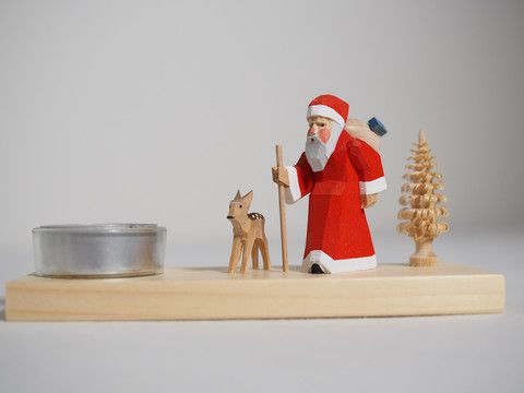 Candle holder - Santa hiking with deer – Adornare