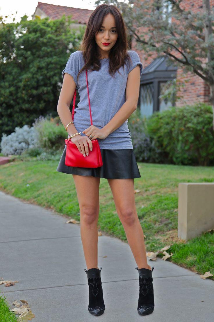 Ashley Madekwe wearing - Leather Skirt: Courtesy of BCBG | TShirt: American Apparel |