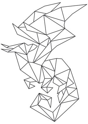 Geometric sections in shifting colors make up a unique dragon design. Downloads as a PDF. Use pattern transfer paper to trace design for hand-stitching.