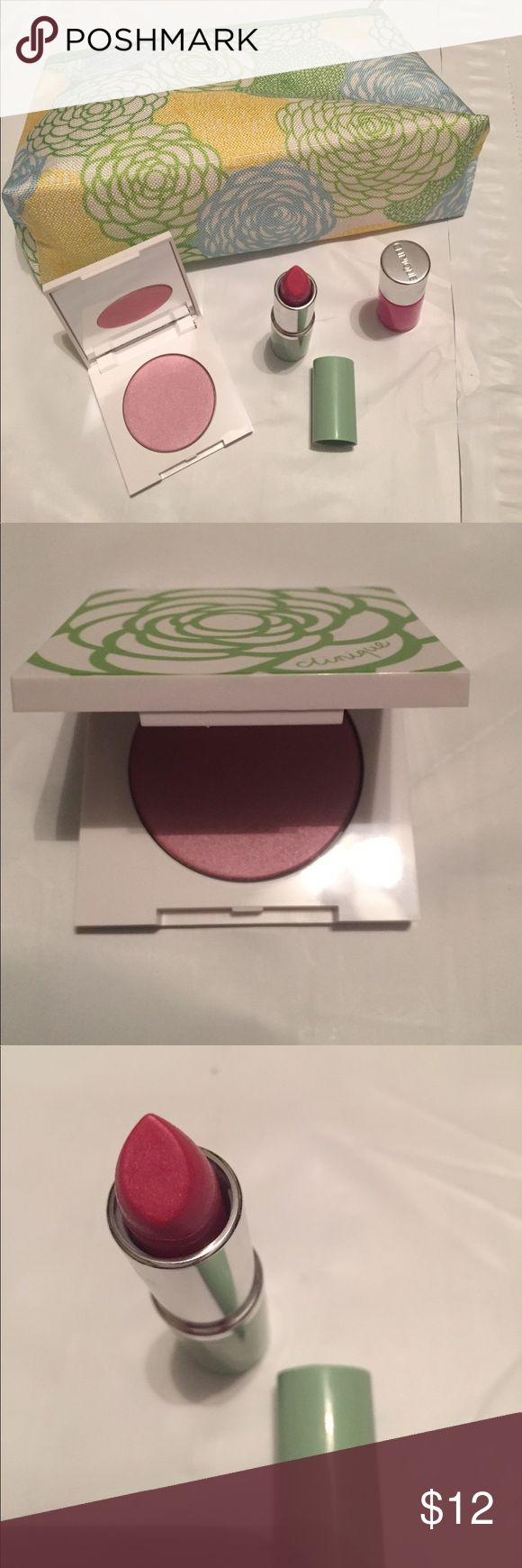 Clinique set Very gently used Clinique makeup back with blush (iced lotus), lipstick (glazed berry), and nail polish. Clinique Makeup
