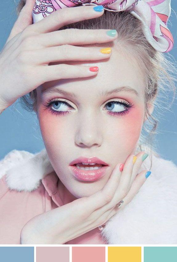 Maquiagem seguindo a paleta de cores pastel