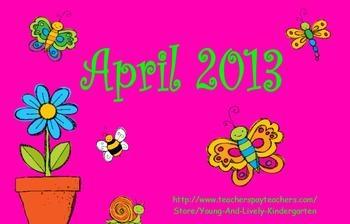 April 2013 Kindergarten Calendar for ActivBoard