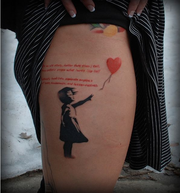 banksy graffiti tattoo girl and red balloon neat. Black Bedroom Furniture Sets. Home Design Ideas