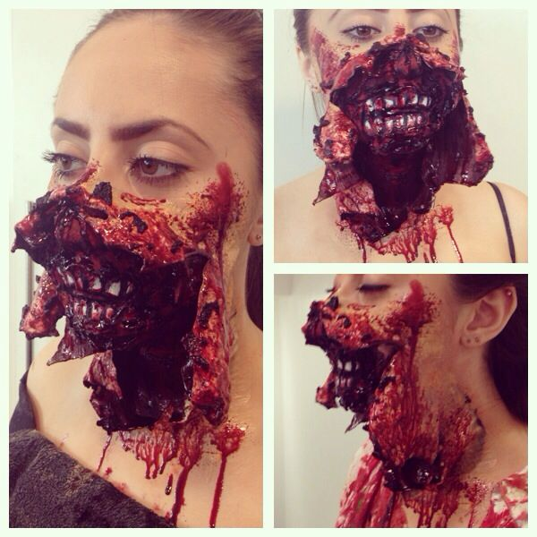 Ripped face idea for a zombie injury simple but effective