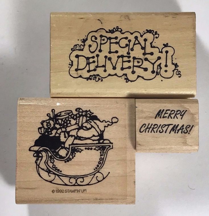 Christmas Rubber Stamp Lot of 3 Santa Clause Special Delivery Sleigh T951 #Unbranded