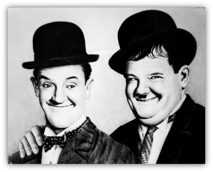 """""""My Pal""""  Laurel and Hardy graphite drawing"""