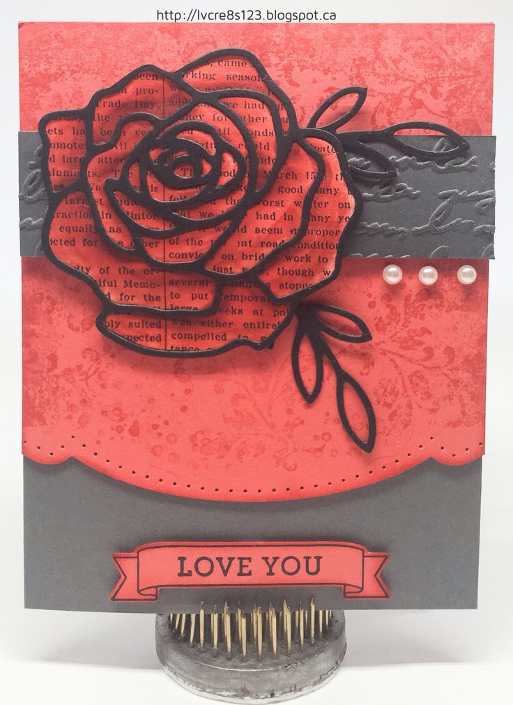 Linda Vich Creates: Painted Rose For Global Design Project. A watercolored Watermelon Wonder rose topped by its matching Basic Black thinlit sits atop an ornately cut matte stamped with Timeless Textures. #gdp030