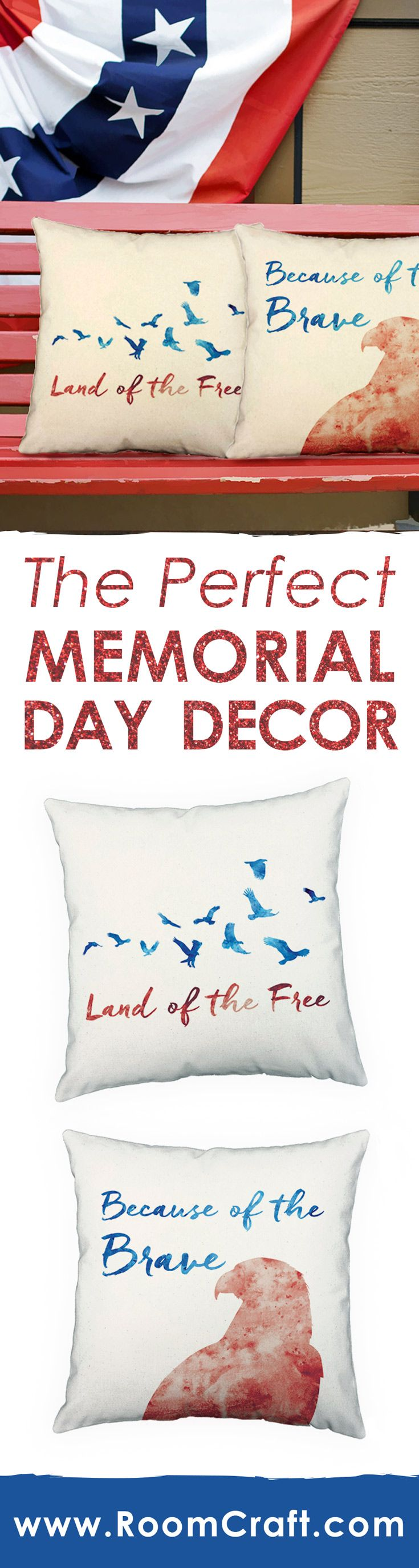 Looking for the perfect Memorial Day decor? Our patriotic throw pillows would work great! All of our designs are offered in multiple colors, sizes and fabrics making them perfect for any room in your home or office. Our quality pillow covers are made to order in the USA and feature 3 wooden buttons on the back for closure. Choose your favorite and create a truly unique pillow set! #roomcraft