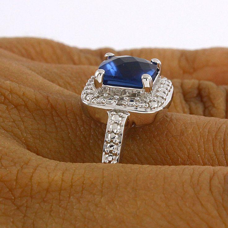 1 Ct Blue Sapphire & Genuine Diamond Accents 14K Gold Over Halo Ring $999 #AffinityFashionJewelry #Halo #EngagementWeddingAnniversaryMemorialDay