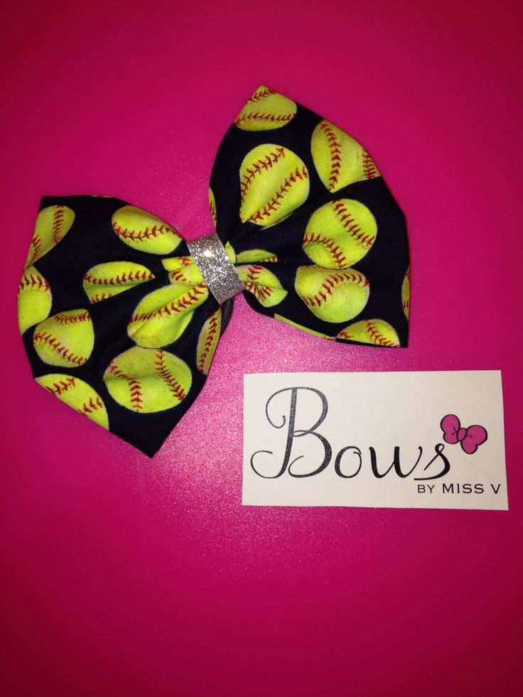 Navy softball fabric bow