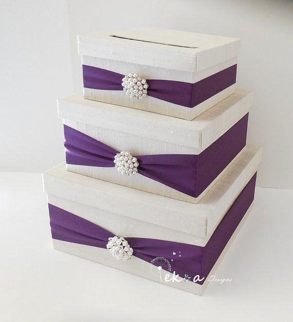 Wedding card box holder / wedding money box / wedding card holder / gift card box / 3 Tier (Ivory & Purple/Plum) - pearl rhinestone brooch