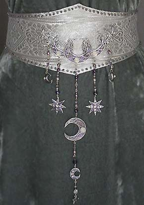 Morgan Le fay gown belt detail with stars and a moon
