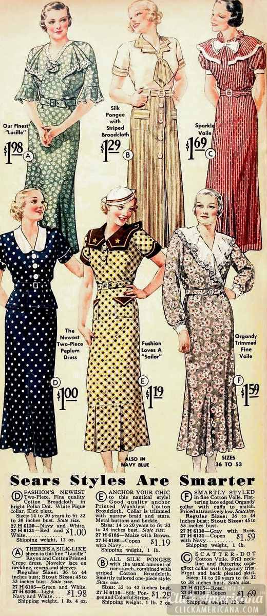 sears-styles-1935 vintage fashion style color illustration print ad magazine red green yellow brown floral black navy 30s deco