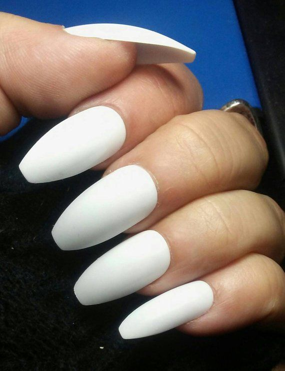 White Wedding Coffin Nails Matte Or Glossy Long Or Short Etsy White Nail Designs White Nails Coffin Nails Matte