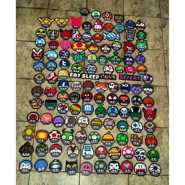 120 Mushrooms collection perler beads by mrkennyyy