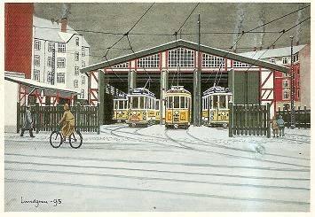 Postkort - Sporvogne i Remise. Valby.