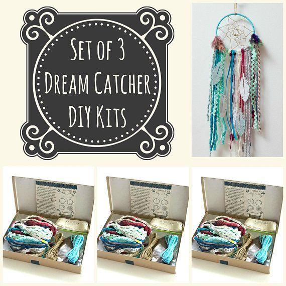 Set of 3 Blue DIY Dream Catcher Kits. Do it Yourself Craft