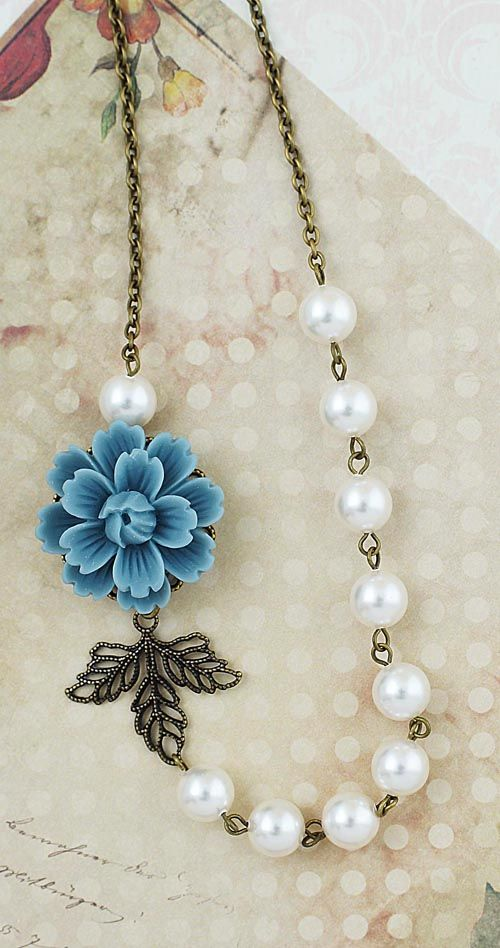 Theme? Trying to get an idea of the feeling of the decor so I can brainstorm and chew on ideas..  Dark Dusty blue flower Vintage Style Bridal Necklace from EarringsNation Dusty blue weddings dark grey weddings vintage style weddings