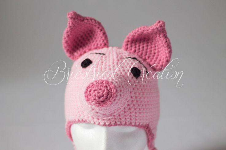 REGARDEZ comment cette tuque pour enfant est mignonne! #tuque #chapeau #enfant #Porcinet https://www.facebook.com/Bricotricot.Creation $24
