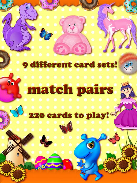 Memory matches brain trainer matching preschool toddler childrens educational training and match learning games for kids boys and girls for free by Irina Schens