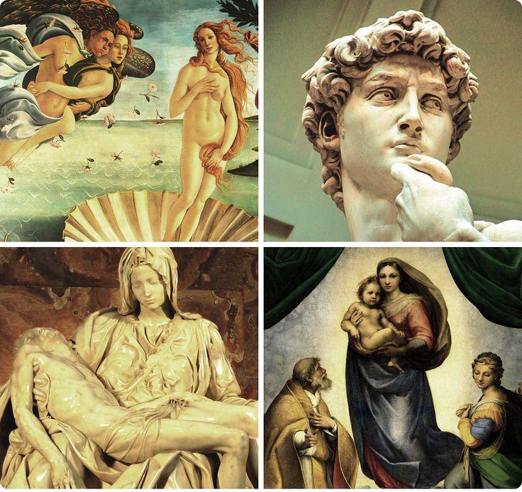 Renacimiento, siglos XV-XVI Fue en la época del Renacimiento cuando Da Vinci pintó su obra maestra Mona Lisa y Miguel Ángel creó su legendario monumento a David. Los artistas eran tan prolíficos que dejaron como legado a la humanidad una gran cantidad de obras maestras de pintura, arquitectura, música y literatura. Fue una época verdaderamente inspiradora.