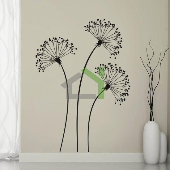 HOUSEDECOR.CZ - SAMOLEPKY NA ZEĎ - Dekorativní - 3 černé květiny