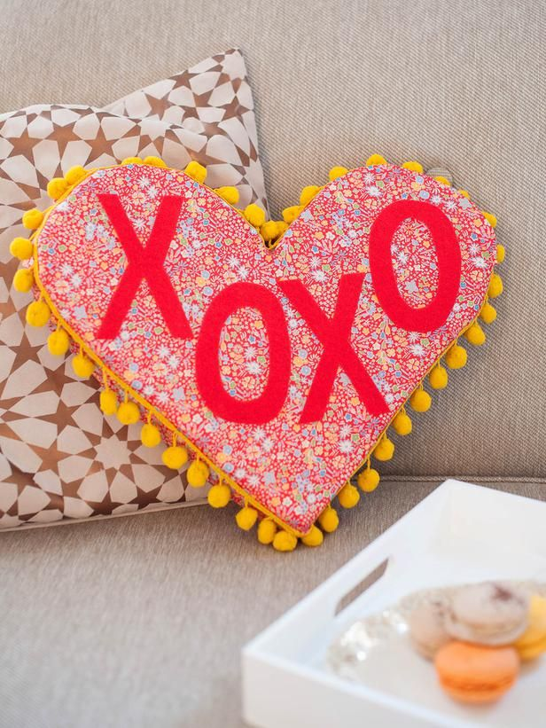 7 Ways to Celebrate Valentine's Day (Single or Taken) (http://blog.hgtv.com/design/2014/02/05/7-ways-to-celebrate-valentines-day-single-or-taken/?soc=pinterest): Valentine'S Day, Valentine Day Crafts, Gifts Ideas, Phrases Pillows, Valentines Day Crafts, Heart Shap Phrases, Diy, Heart Pillow, Cocktails Recipes