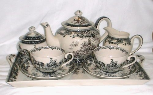 Black Transferware Tea Set Colonial Virginia Toile Pot Tray Cream Sugar Cups | eBay